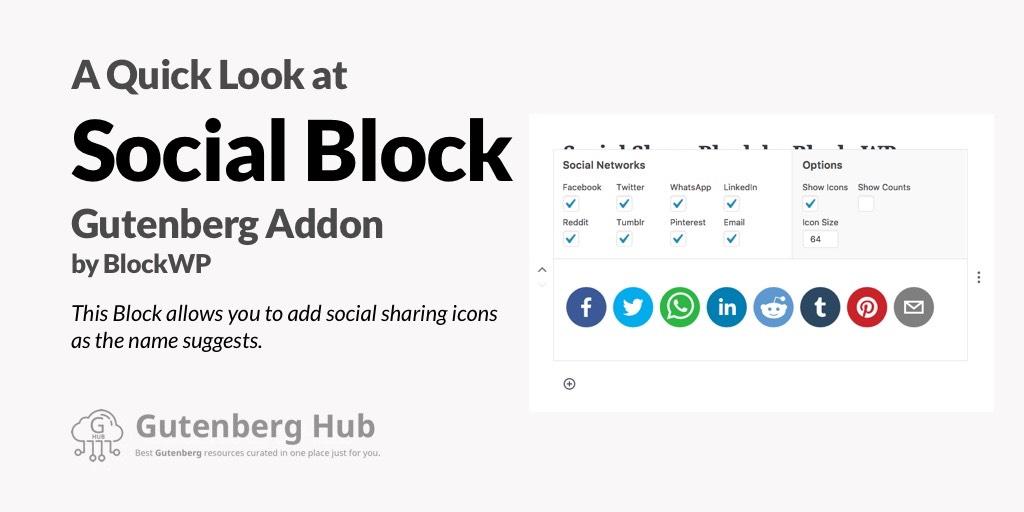 Social Share Block - Gutenberg Addon - Quick Look - Gutenberg Hub