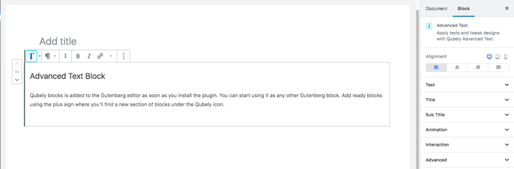 Qubely text block