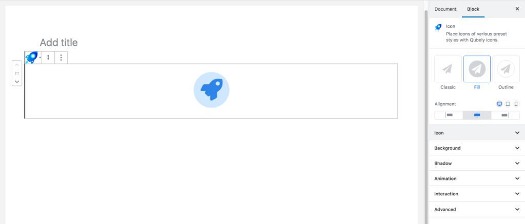 Qubely icon block